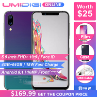 Pre sale UMIDIGI One Pro Global Band 5.9 Smartphone wireless charge 4GB 64GB P23 Octa Core 12MP+5MP Dual 4G NFC Android 8.1