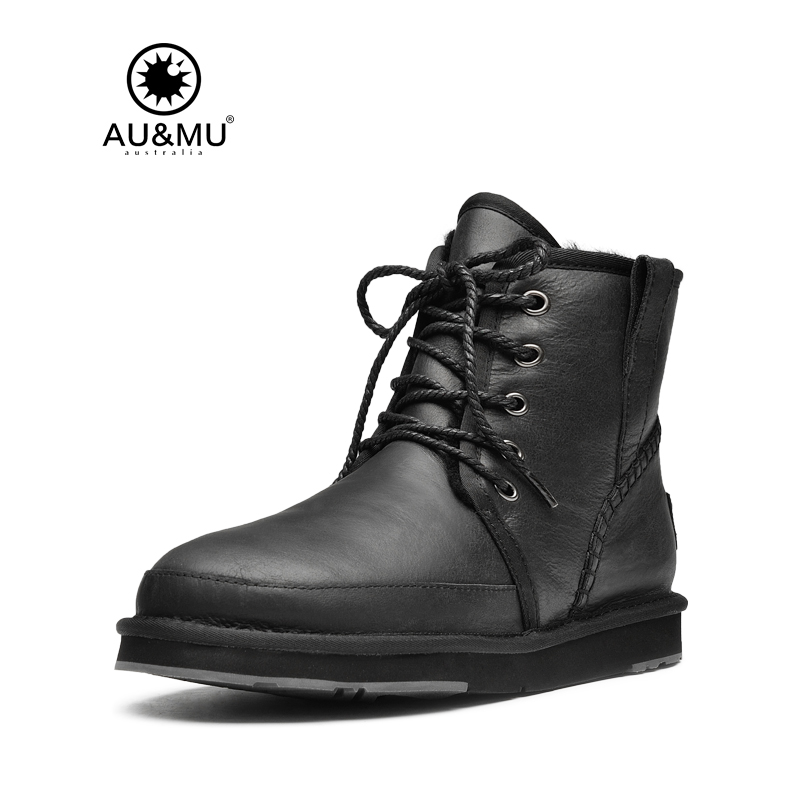 2017 AUMU Australia Mens Shearling Leather Waterproof Lace-up Boots Snow Winter Boots UG N048 2017 aumu australia women classic short sheepskin elastic suede winter snow boots ug ny082