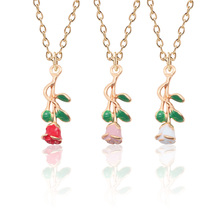 Fashion Creative Half Face Three-Dimensional Rose DIY Gold Drop Oil Alloy Three-Color Pendant Valentines Day Best Gift Jewelry
