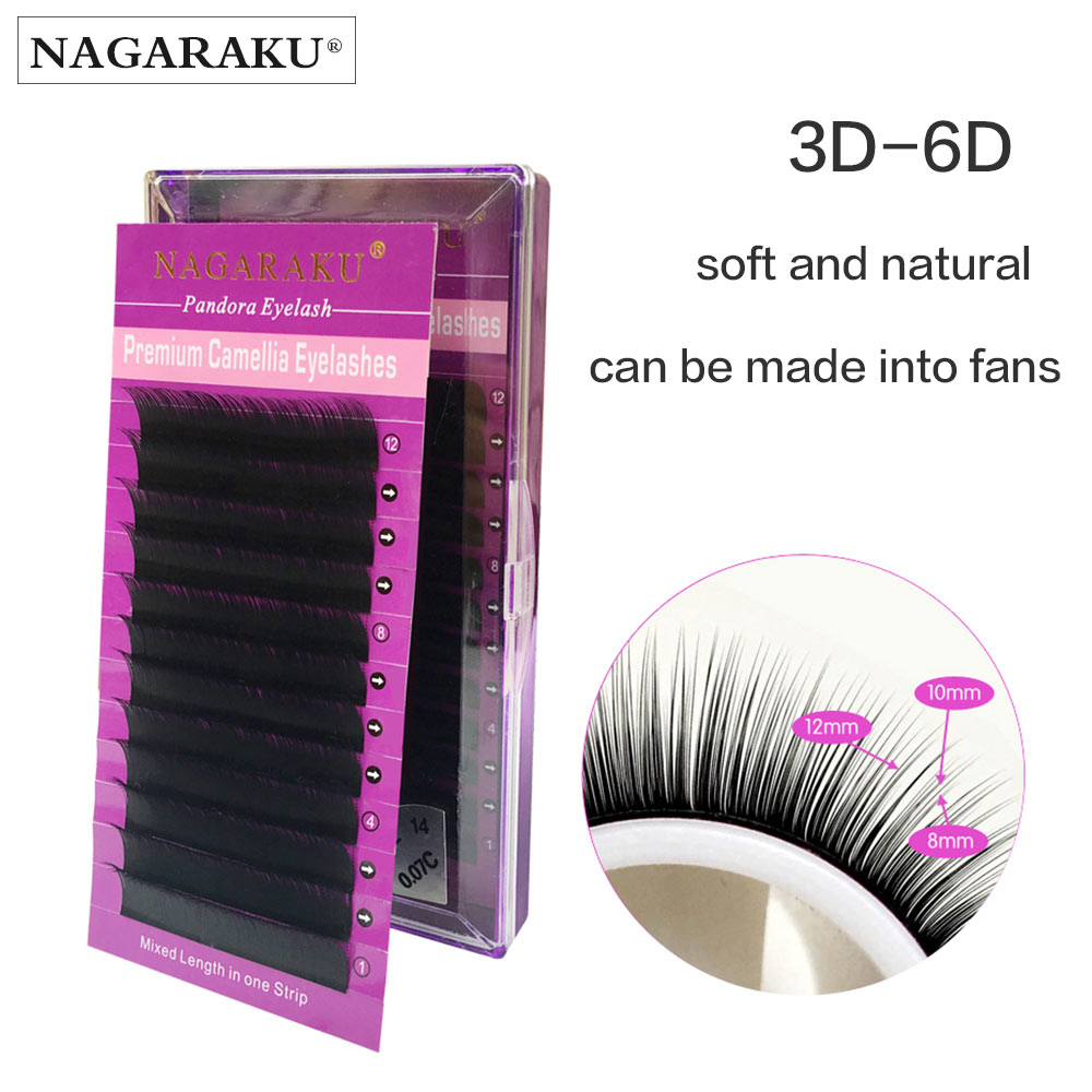 NAGARAKU 12 Lines in one Tray Volume Eyelash Extensions Mixed Length in One Lash Strip Camellia Eyelash Pandora Eyelashes