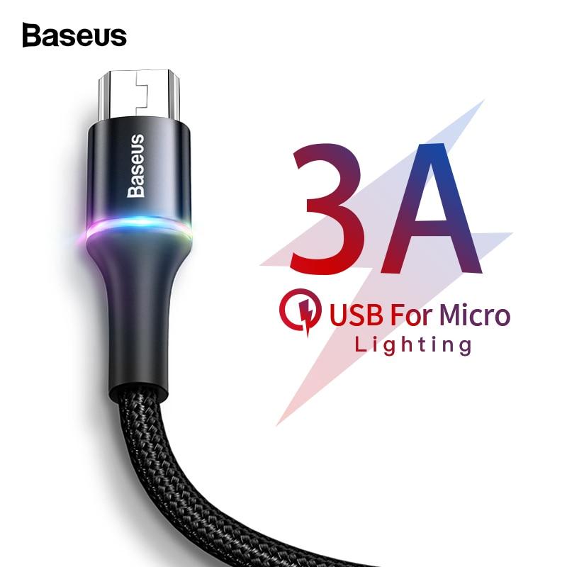 Baseus 3A Iluminação LED Cabo Micro USB Carregador De Carga Rápida Cabo de Fio de Cabo Microusb Para Samsung Xiaomi Android Telefone Móvel 2m