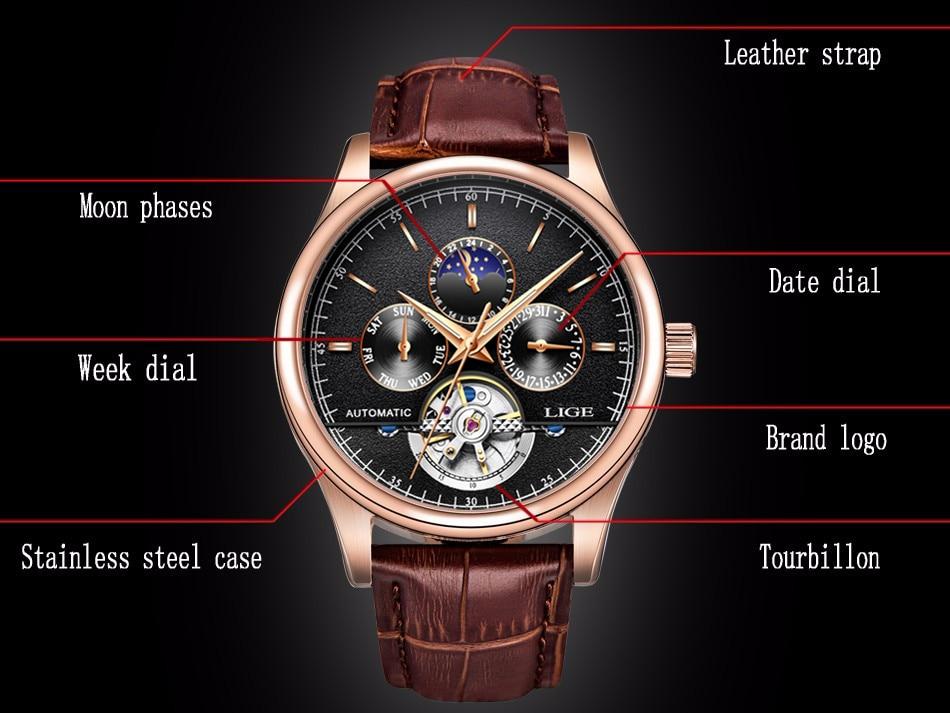 Lige marca de luxo relógios masculinos automático