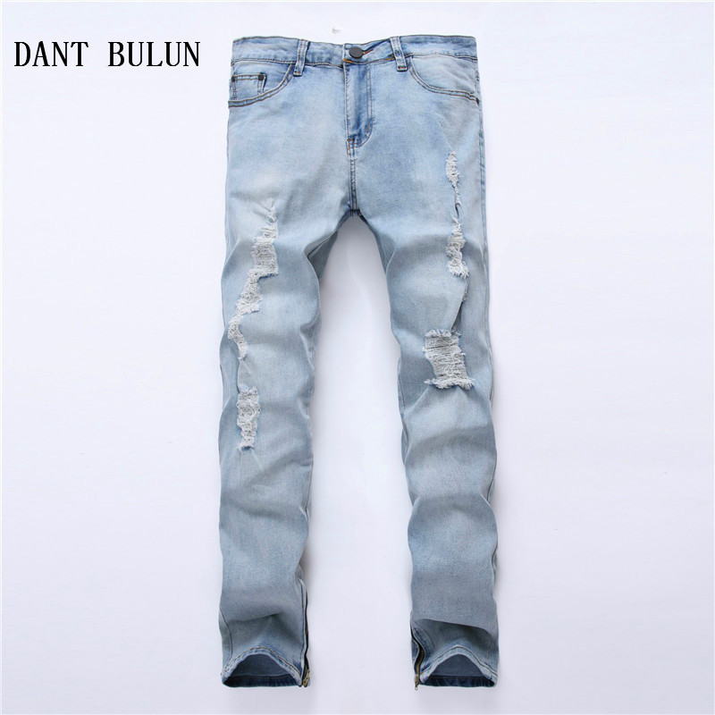 DANT BULUN Men Ripped Hole Jeans Slim Skinny Biker Blue Jeans Side Zipper Elastic Casual ...