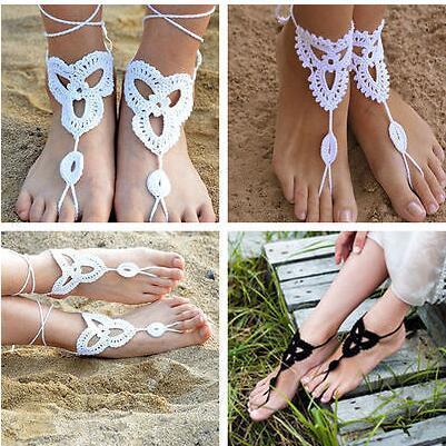 63db7972e538 1 pair Beach wedding barefoot Sandals White