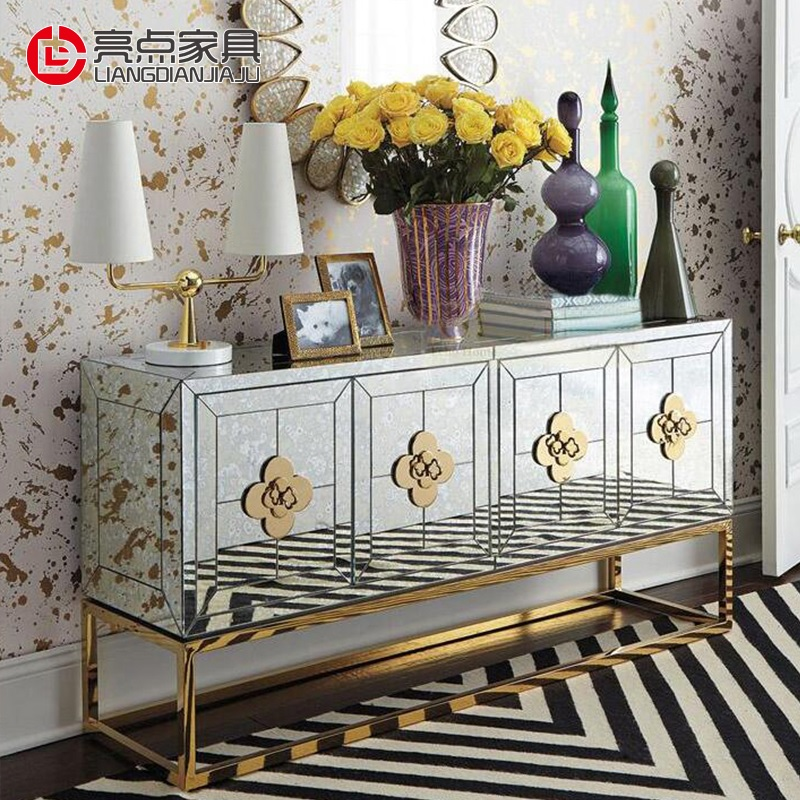 Vintage Mirror & Gold Console Cabinet