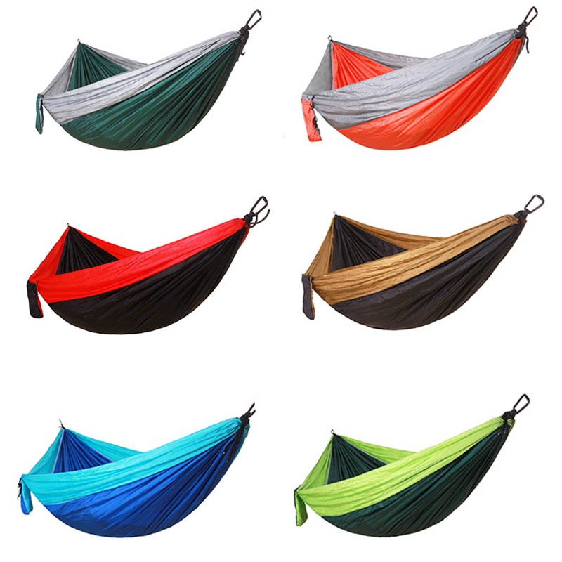 Single&Double Camping Hammock With Hammock Tree Straps Portable Parachute Nylon Hammock For Backpacking Travel Lightweight lightweight hammock big hammock amaca camping