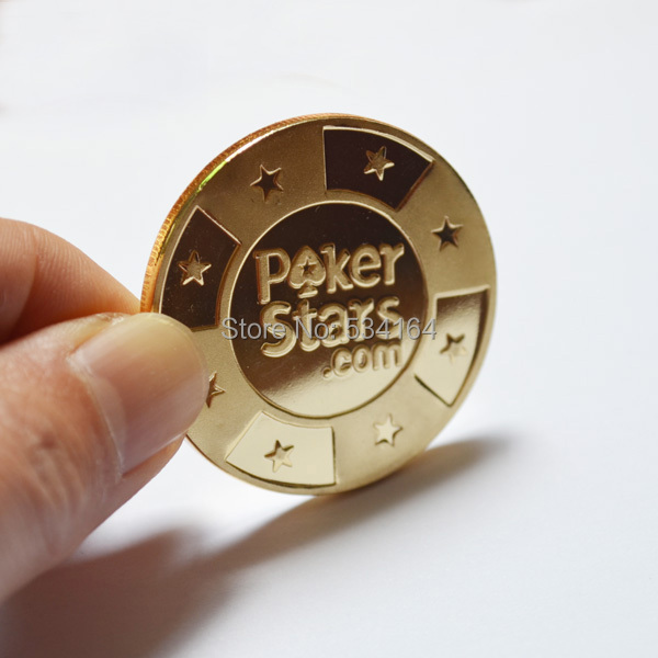 Poker Cards Guard Protector,Metal Token Coin with Plastic Cover Metal Chip Poker Stars Gold Color