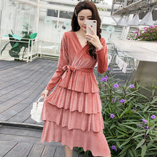 MAXDIROO Women Autumn Winter V Neck Long Sleeve Velvet Long Ball Gown Dress  With Sashes Women Velour Party Dress Vestidos f925b7ec089c