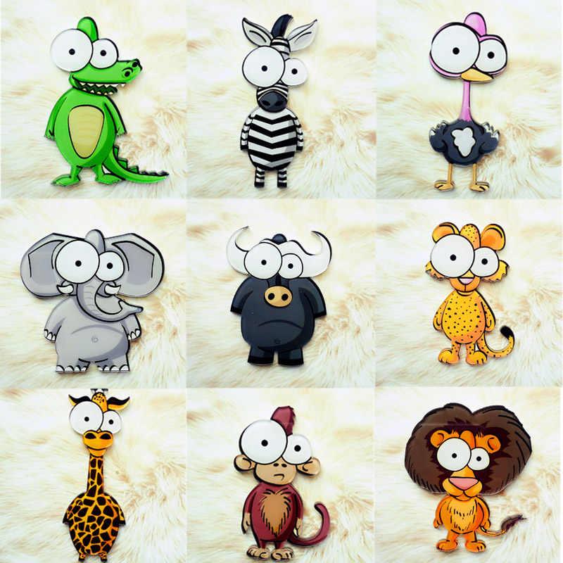 Sale Korean Big Eyes Wiht Monkey Lion Tiger Cow brooches for girls boys Cloth Acrylic Cartoon Animal Kids Pins Badge Jewelry