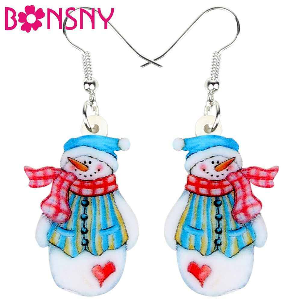 Bonsny Acrylic Christmas Cartoon Sweet Snowman Earrings Drop Dangle Set Ornaments Party Jewelry For Women Girls Teen Gift Bijoux