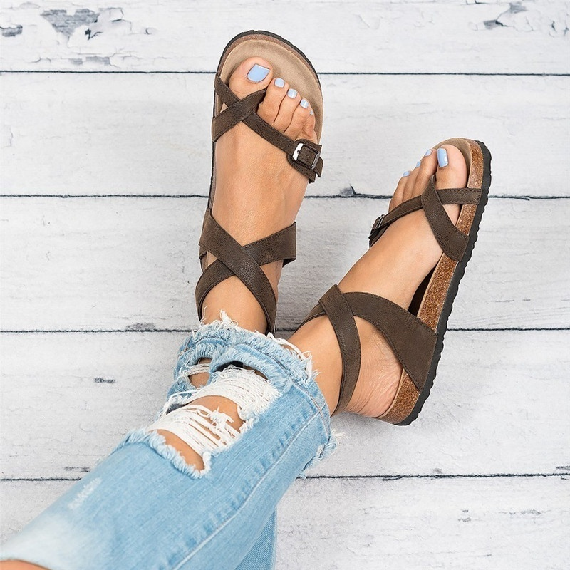WADNASO 2019 New Fashion Cork Sandals Women Summer Beach Gladiator Buckle Strap Shoes Flat Casual woman sandals