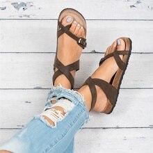 WADNASO 2019 New Fashion Cork Sandals Women Summer Beach Gladiator Buckle Strap Shoes Flat Casual woman sandals