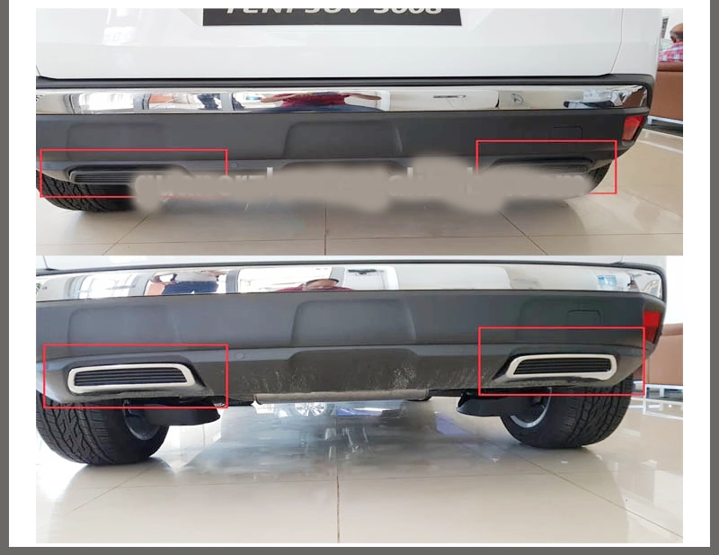 For 2017 Peugeot New 3008 Chromium Decoration board on tail pipes Fake exhaust Peugeot Exhaust trim frame