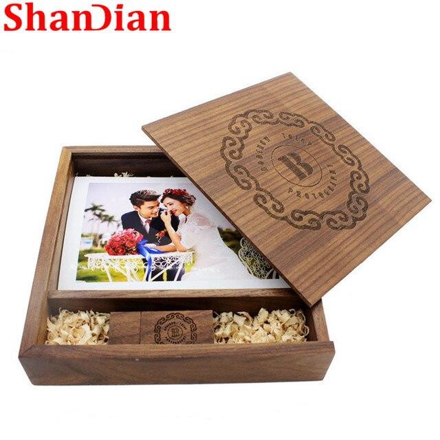 SHANDIAN (170mm * 170mm * 35mm) album Ảnh gỗ gỗ usb + Hộp ổ đĩa flash usb U đĩa Ổ Usb 8GB16GB32GB 64 GB Phòng Thu Đám Cưới quà tặng