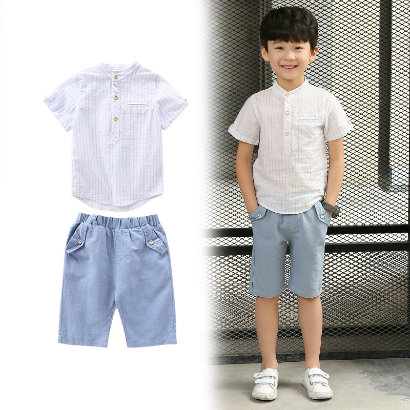 2018 Boys Suits Children Clothing Sets Summer Boy Suits Casual Children Sportswear Kids Clothes Blouses Shirts + Pants Shorts 12