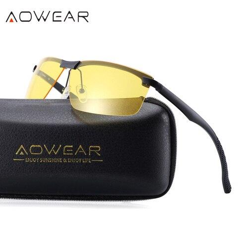 AOWEAR HD Night Vision Glasses for Night Driving Safety Car Driver Goggles Anti-Glare Yellow Sunglasses Men Polarized Eyewear Islamabad