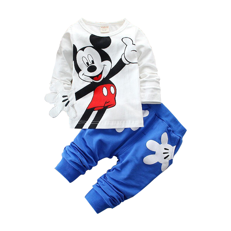 Boys Girls Clothing Sets Children Cotton Sport Suit Kids Mickey Minnie Cartoon T-shirt And Pants Set Baby Kids Fashion Clothes new style summer baby boys girls clothes t shirt pants cotton suit children set kids clothing bebe next infant clothing