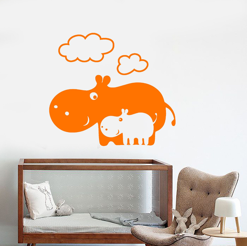 online get cheap hippo stickers aliexpress com alibaba group cartoon hippo family wall decal for nursery e co friendly material wall stickers baby children s room removable home decor zb333