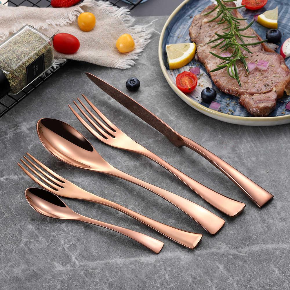 20 pçs/set aço inoxidável preto rosa ouro talheres conjunto louça talheres talheres com salada sobremesa garfo transporte da gota