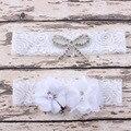 Vintage nupcial liga liga de la boda conjunto lanzamiento de la liga con gasa flores de perlas y diamantes de imitación accesorios nupciales 1 Unidades