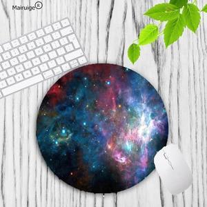 Image 4 - Mairuige büyük promosyon renkli uzay renk oyun daire Mouse Pad bilgisayar paspaslar boyutu 20*20cm yuvarlak mousepad kauçuk paspas