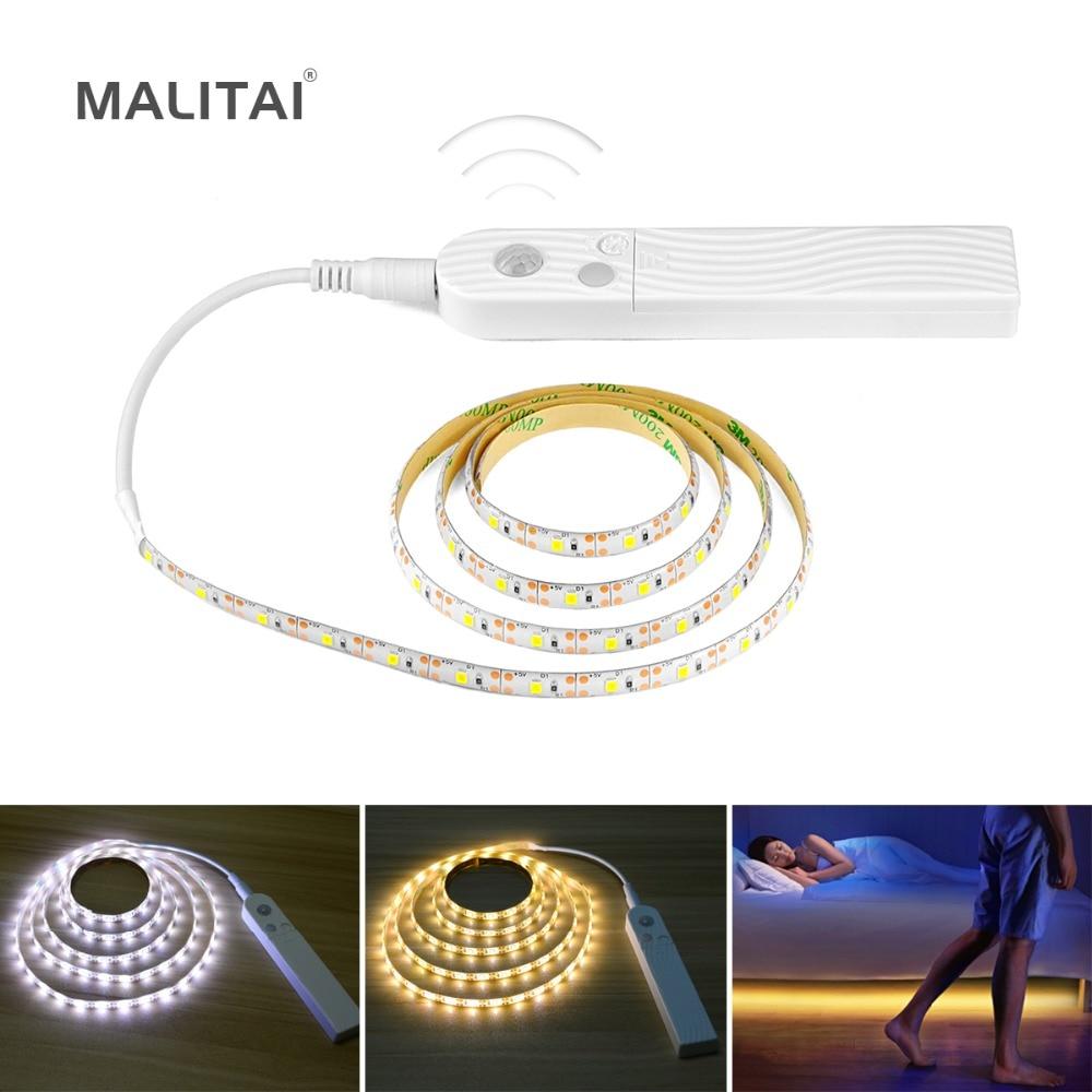 цена на Flexible PIR Motion Sensor Night light 1m 2m 3m USB LED Strip Table Wall lamp For Bedroom Wardrobe Kitchen Cabinet TV lighting