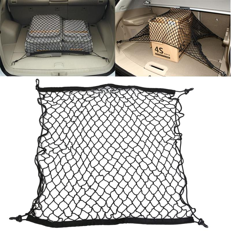 1Piece Hot Sale Universal Car Trunk Luggage Storage Cargo Nylon Elastic Mesh Net 70 x 70cm With 4 Plastic Hooks Car Tidy Net