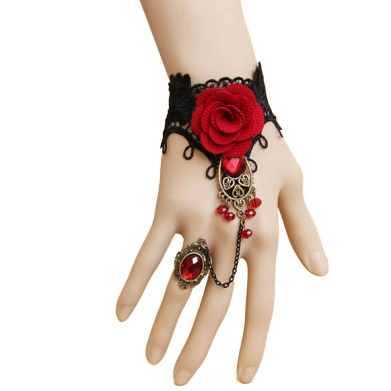 Jlong Retro Metal Bracelet Lace Red Rose Gloves 2018 New Fashion Floral Women Mittens