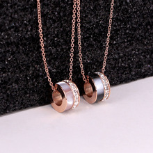 цена на Trendy Women Necklaces Pendants Shell Cubic Zirconia Rose Gold Chain Crystal Necklace Stainless Steel Jewelry