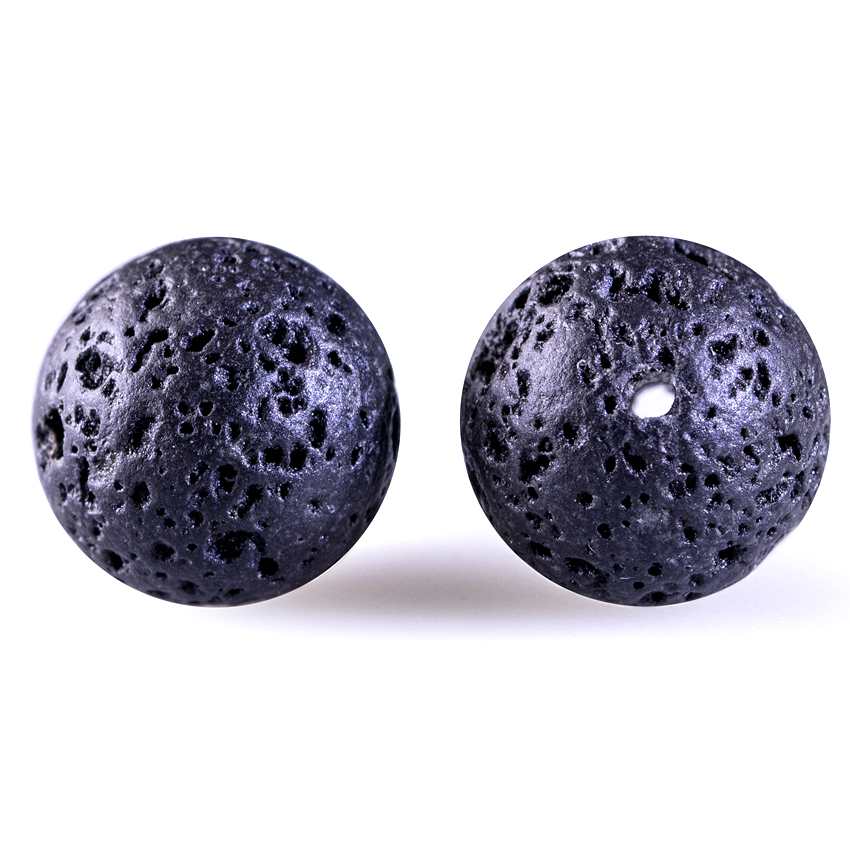 DIY svarte vulkanske lavakuler Lava steinperler Runde vulkanske stein - Mote smykker - Bilde 2