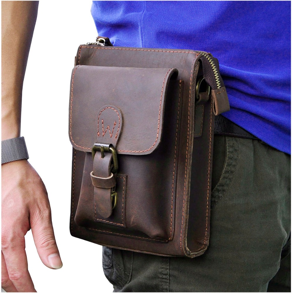Genuine Leather Men Multifunction Casual Design Small Messenger One Shoulder Crossbody Bag Waist Belt Bag Phone Pouch 6402