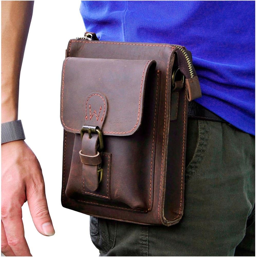 Genuine Leather Men Multifunction Casual Design Small Messenger One Shoulder Crossbody Bag Waist Belt Bag Phone Pouch 6402