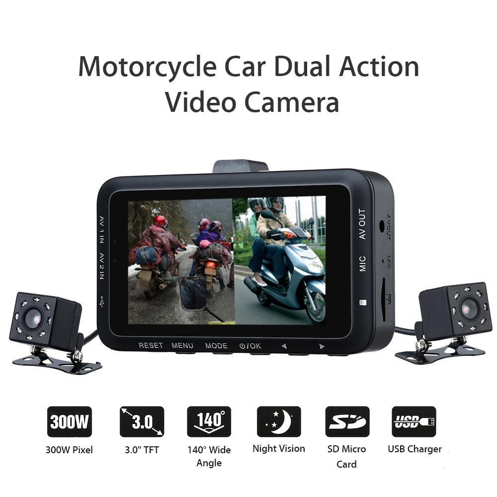 Motorcycle Car Mounted Biker Action Video font b Camera b font DVR Front Back 3 0