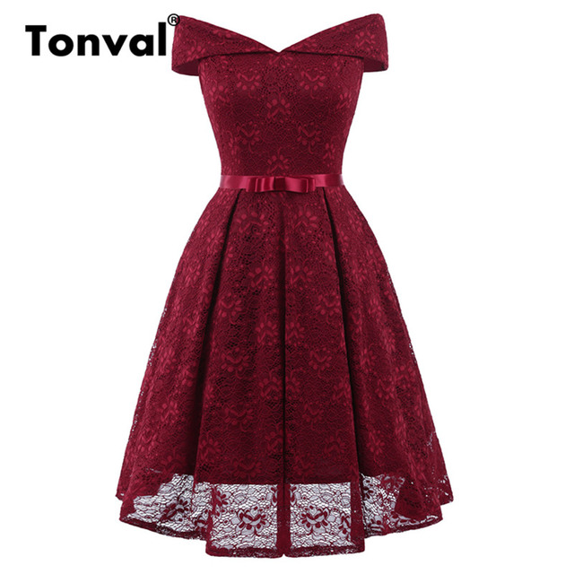 Tonval Lace Elegant A Line Bow Ladies Dresses Off Shoulder Sexy V Neck Party  Dress Women Vintage Burgundy Red Tunic Dress 8a09472e9f29