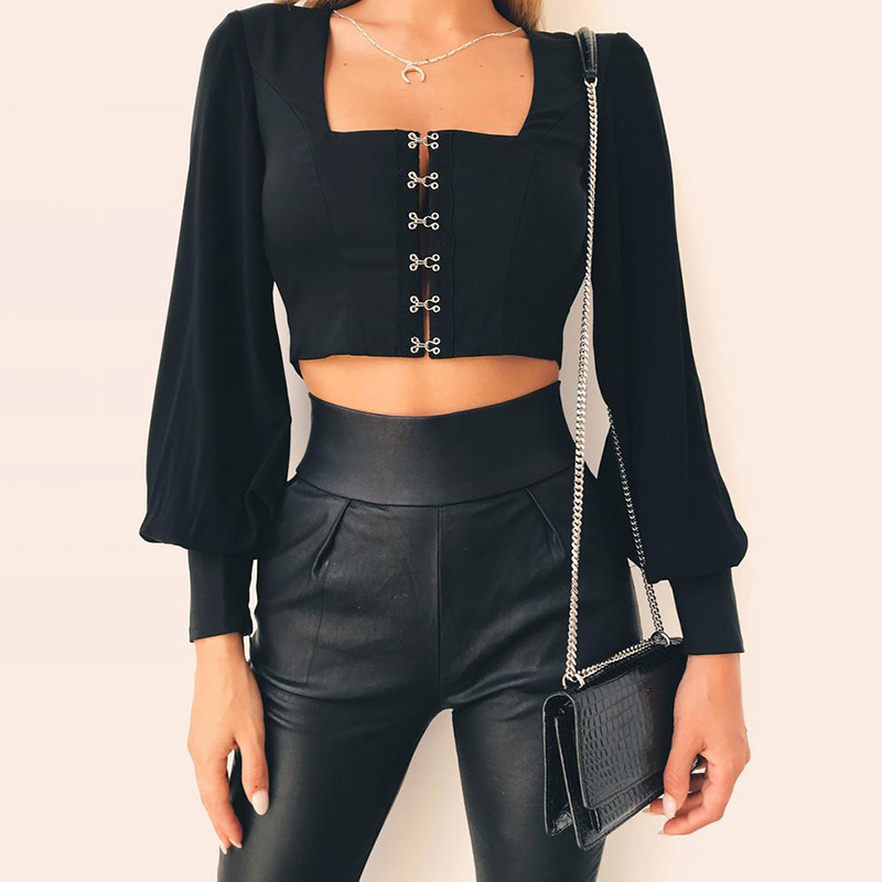 Women Backless Chiffon Crop Top Flare Long Sleeve Sexy Solid Top Tees Blouse H9