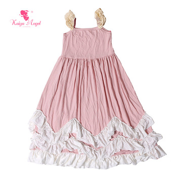 Kaiya Angel 2017 Summer Girls Dresses Princess Kids Clothing Dust Pink Rose Pink Dress With Lace Cap Sleeve Children Clothes
