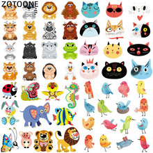 ZOTOONE Cute Animal Set Iron On Transfers for Clothing Bird Cat Kids Patches Sticker DIY Thermal Heat Transfer T-shirt Printed G