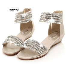 Koovan Women Sandals 2021 Summer Beaded Rhinestone Wedge Low heeled Bohemian Roman Style Ladies Women s Shoes Sandal
