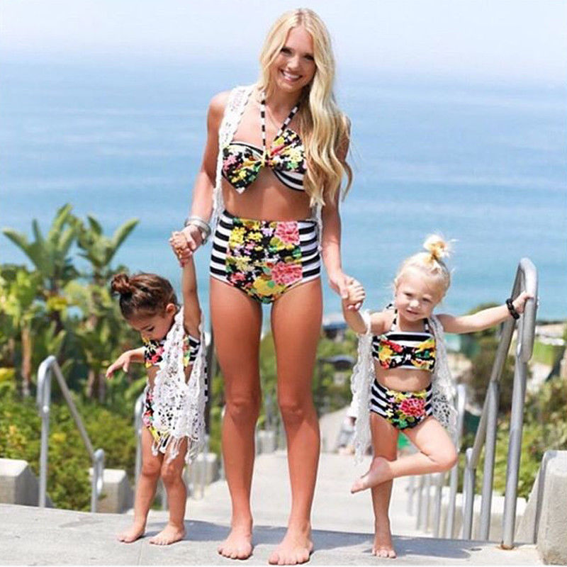 Cute 2018 Family Matching Outfits Mom And Daughter Baby Girl Floral Bikini Suit High Waist Swimwear Swimsuit Summer Bathing Suit 2pcs kids baby girls floral swimsuit children girl bikini set summer swimwear bathing suit 1 6y