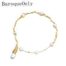 BaroqueOnly Handmade Multiple Pearls Choker Necklace 1 Big Pearl 7 Round Pearls Vintage Freshwater Pearl Necklace