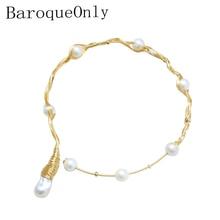 Baroqueonly 手作り複数真珠チョーカーネックレス 1 ビッグ真珠 7 ラウンド真珠ヴィンテージ淡水真珠のネックレス