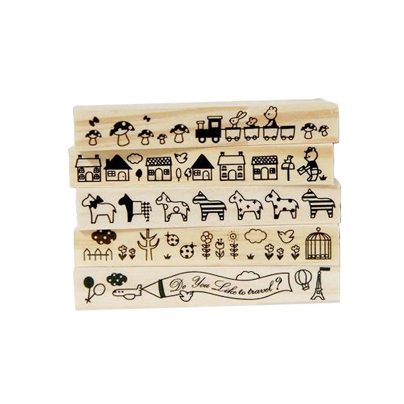 1 Pcs/lot Vintage Cute Animal Strip Wooden Rubber Stamp Kids DIY Handmade Scrapbook Photo Album Students Stamps Arts Crafts Gift
