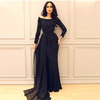 Navy Blue Muslim Evening Dresses 2018 Mermaid Long Sleeves Sequins Beaded Islamic Dubai Kaftan Saudi Arabic Long Evening Gown