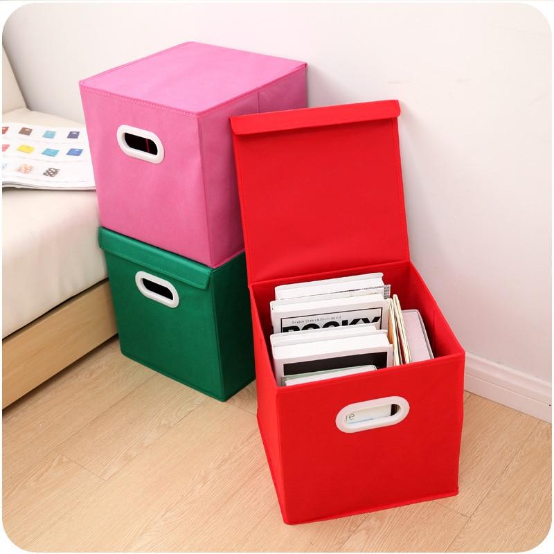 Tela de hilado Caja de almacenamiento con tapa plegable con manija Caja de almacenamiento Acabado de ropa Estantes y cesta de almacenamiento al por mayor