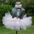 boutique tutu skirt baby skirt can with match flower headband pink with white color