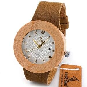 Image 4 - BOBO BIRD montres en bambou pour femmes, rondes de Sport, à Quartz, avec bracelet en cuir véritable