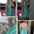 Mint Green Short Graduation Dress A-line Deep V-neck Sleeveless Backless Chiffon with Sparking Beading Sequin for Formal Party