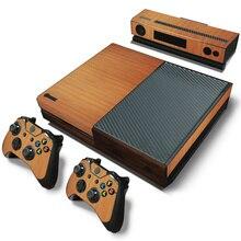 Drewno skóra winylowa ochraniacz w formie naklejki na Microsoft Xbox One i 2 kontrolery skórki naklejki na Xbox One Mando Manttee naklejka