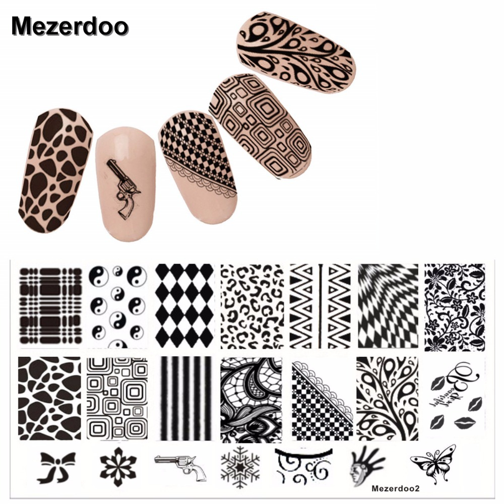 Mezerdoo New Fashion 6cmX12cm Set Nail Art Templates Gun Kiss Pattern Stämpel Polska Stainless DLY Nail Stamping Plates