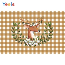 Yeele Wall Decoration Photocall Square Deer Flowers Photography Backdrops Personalized Photographic Backgrounds For Photo Studio